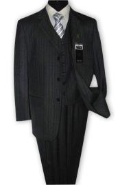 Nardoni 3 Button Vested Suits 100% Wool Suits Vested Charcoal Grey