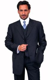 100% Wool Vested Dark Navy Blue Suit For Men