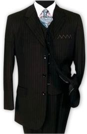 Nardoni 3 Button Vested Suits 100% Wool Suits Vested Black Stripe