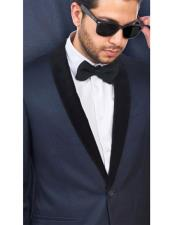 Wool Fabric Navy Blue With Black Velvet Fabric Blazer Sport Coat Dinner Jacket Tuxedo Looking