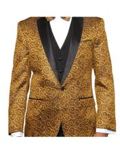 Alberto Nardoni Brand Gold Two Toned Paisley Blazer or Tuxedo Suit Vest + Pants Vested + Black