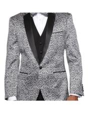 Silver Two Toned Paisley Blazer or Tuxedo Suit Vest + Pants