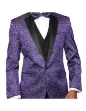 Purple Paisley-200VP  Two Toned Paisley Blazer or Tuxedo Suit Vest +
