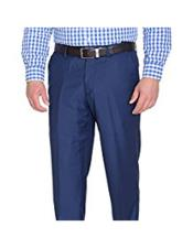Slim Fit Polyester Blend Solid Blue Flat Front Pant (We have