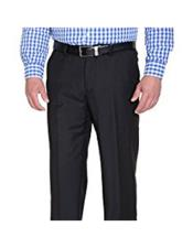 Mens Solid Black Slim Fit Polyester Blend Flat Front Pant (We have more Braveman suits Call 1-844-650-3963