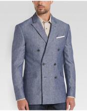 Mens Blue 6 Buttons Double Breasted Slim Fit Linen Sport Coat