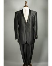 Flashy Sharkskin Black Suit