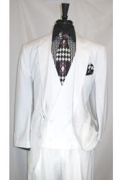 Peak Lapel 2 Button White Multi Stripe Double Breasted Vest Suit