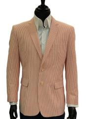 SKU#SM623 Mens 2 Button Pinstripe Notch Lapel Single Breasted Blue Seersucker Blazer$139
