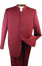 Nardoni Burgundy ~ Maroon ~ Wine Mandarin Collar Suit
