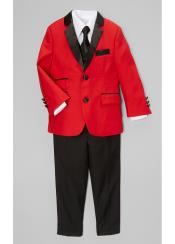 SKU#SM4090 Boys Red And Black Lapel Boy suit & Blazer & Pants $120