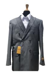 SKU#Style DB-1B Authentic Alberto Nardoni Mens Wool Pick Stitched Lapel Double Breasted Pinstripe Blazer Sport Coat Jacket Grey