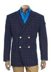 SKU#SM4115 Men's Checked Pattern Peak Lapel Double Breasted Navy Blazer