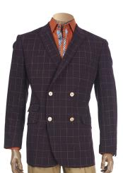 SKU#SM4117 Men's Burgundy Checked Pattern Peak Lapel Double Breasted Blazer