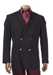 SKU#SM4124 Men's Checked Pattern Peak Lapel Double Breasted Black Blazer