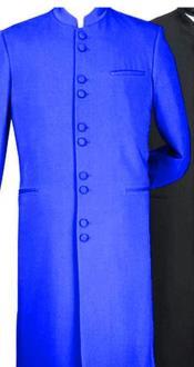 Nardoni Mens Royal Blue Mandarin Banded Collar Matrix Long Style Dress Suits for Men