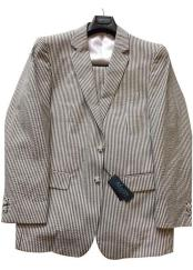 Black/White Modern Fit Striped Cotton Blend Seersucker Sear sucker suit Flat