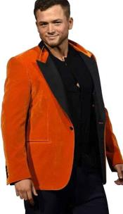 ORANGE FAILLE-TRIMMED COTTON-VELVET TUXEDO