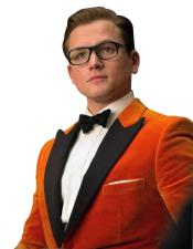 Nardoni Brand Orange Velvet Tuxedo Suit~ Sport Coat Jacket Tuxedo With Black Lapel  + Black Pants