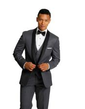 Charcoal Grey With Sheen Shawl Collar Vested 3 Pieces tuxedo Vested Super 150s Wool Black Lapel Regular