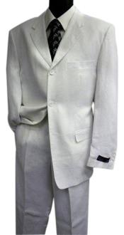 Mens Three Buttons Pure Linen Fabric White Suit