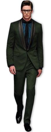 Nardoni Olive ~ Dark Green Shawl Collar Wool Tuxedo Vested 3PC Suit Black Lapel