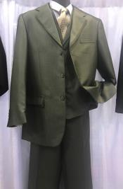 Olive Fashion Vested Suit