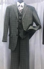 Plaid Pattern Gray Suit