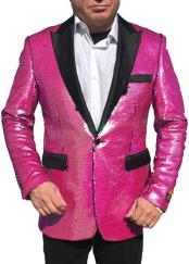 "Alberto Nardoni Hot Pink ~ Fuchsia Shiny Sequin Tuxedo Black Lapel ""paisley look"" sport jacket ~ coat"
