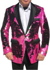 Nardoni Brand Fashion Mens Fuchsia Pink & Black Lapel Blazer ~ Sport Coat Tuxedo Dinner Jacket Sequin