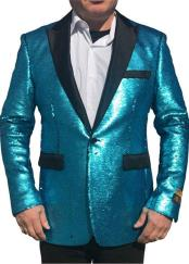 Alberto Nardoni Tiffany Blue Shiny Sequin Tuxedo Black Lapel paisley look