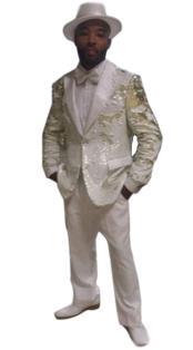 "White/Gold Alberto Nardoni Shiny Fashion Black Lapel ""paisley look"" sport coat Tuxedo jacket"