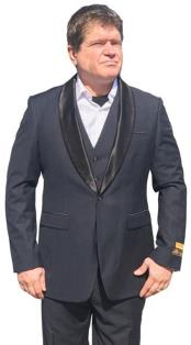 Nardoni Mens Vested 1 Button Shawl Tuxedo in Navy Blue $199