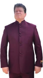 Nardoni Mandarin Banded No Collar Suit Burgundy ~ Wine ~ Maroon