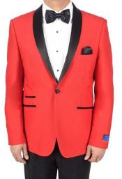 Red 1 Button Viscose Blend Tuxedo Solid Pattern Shawl Lapel Dinner