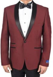 Burgundy ~ Wine ~ Maroon Color 1 Button Single Breasted Tuxedo Solid Pattern Viscose Blend Dinner Jacket