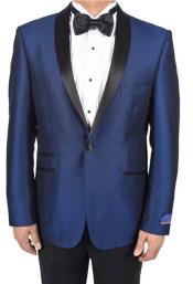 Mens Blue 1 Button Tuxedo Solid Pattern Super 150s Viscose Blend Dinner Jacket