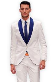 White And Royal Blue Shawl Lapel Tuxedo Dress Suits for Men