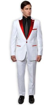 White with red lapel