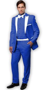 ~ Tuxedo Royal Blue With White Lapel Vested 3 Pieces Dress Suits for Men Vested Side Vented