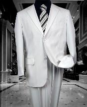 SKU#MRS456 TS-02 MENS SOLID COLOR WHITE 2 BUTTON WOOL FEEL 2PC SUIT BY:FITTED SLIM FITC CUT PAUL SUPER 130'S EXTRA FINE