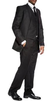 classic black slim fit 3 piece wedding prom vested suit