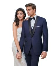 1 Button Slim Fit Single Breasted Navy Satin Shawl Lapel Tuxedo