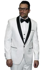 mens one button white vested tuxedo suit with black shawl lapel