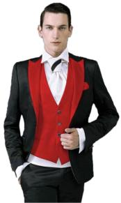 Black tuxedo suit with red Peak lapel (Jacket + Pants + Tie + Vest)