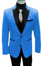 Nardoni Turquoise ~ Aqua Light Blue Tuxedo and Black Lapel Vested