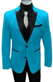 Nardoni Turquoise ~ Aqua Light Blue Tuxedo and Black Lapel Vested