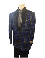 Royal Blue Two Button Closure Plaid Pattern Shawl Lapel Single Breasted Jacket