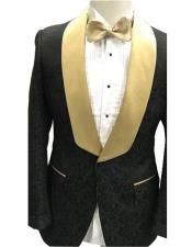 button gold shawl lapel floral pattern 1 chest pocket black tuxedo suit mens