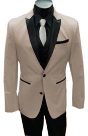 Nardoni Tan ~ Beige Tuxedo Vested Suit Tan ()
